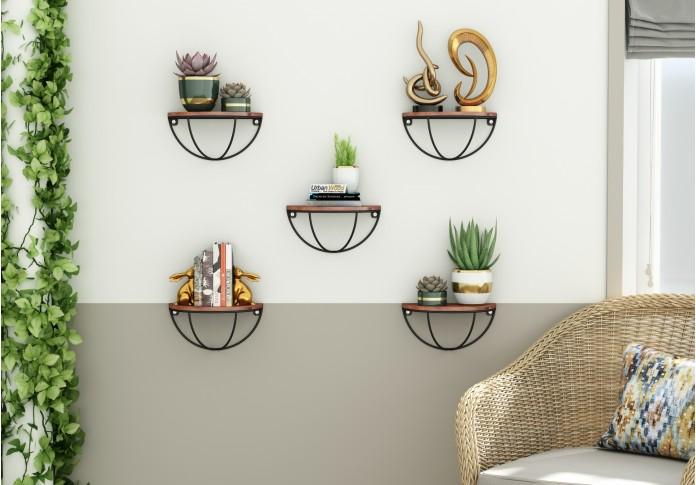 Mika Wooden Wall Shelves (Teak Finish)