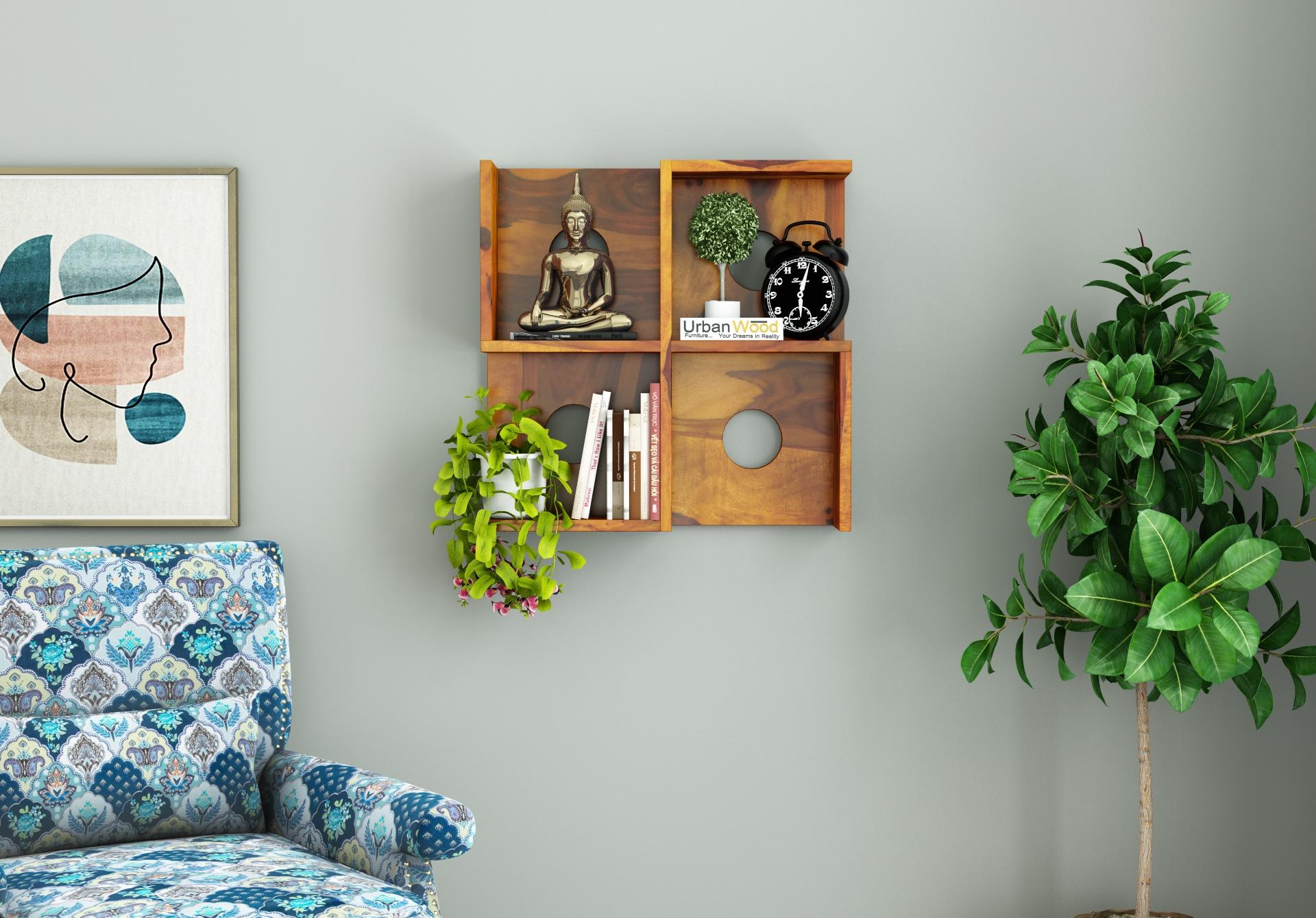 Poppy Wooden Wall Shelves <small>(Honey Finish)</small>