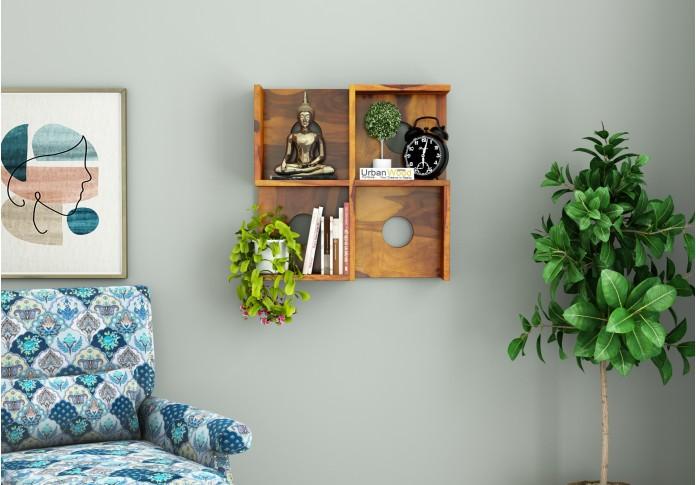 Poppy Wooden Wall Shelves (Honey Finish)