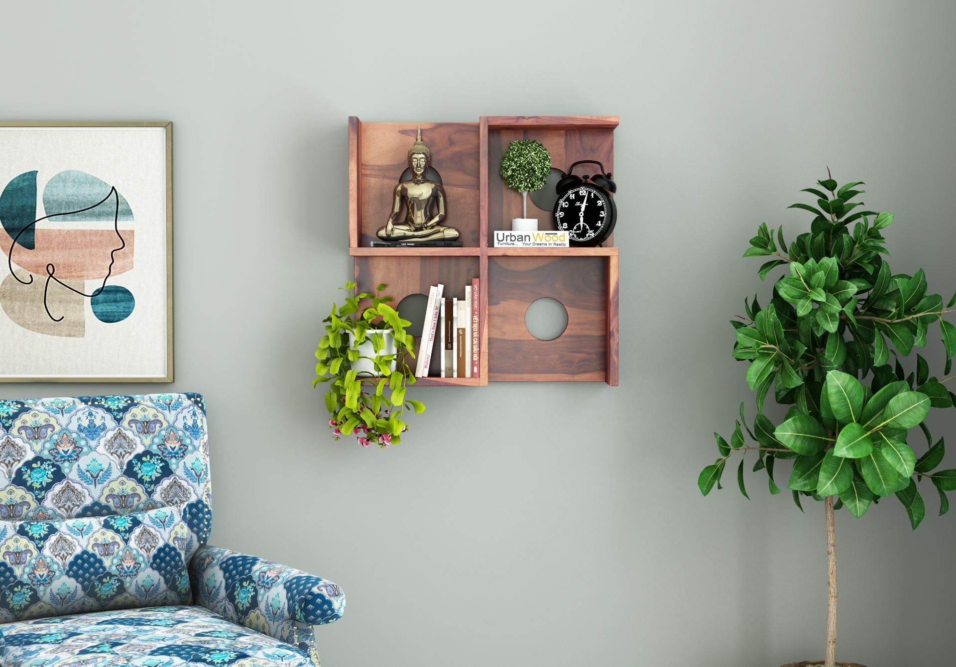 Poppy Wooden Wall Shelves <small>(Teak Finish)</small>