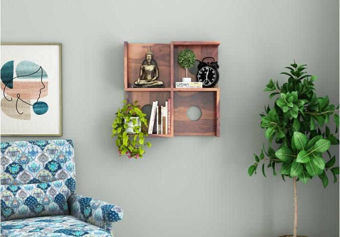 Poppy Wooden Wall Shelves (Teak Finish)