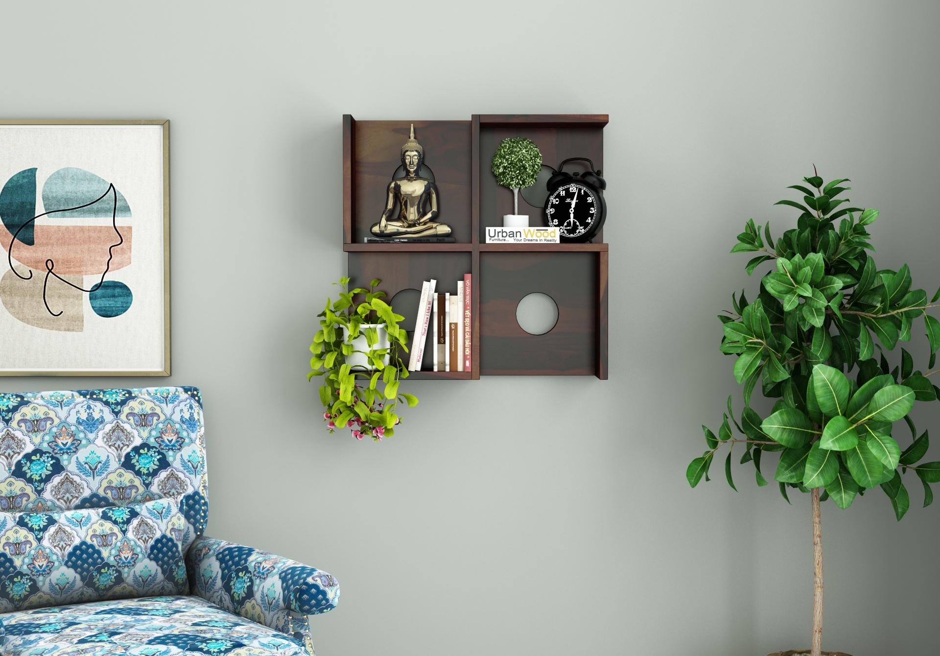 Poppy Wooden Wall Shelves <small>(Walnut Finish)</small>