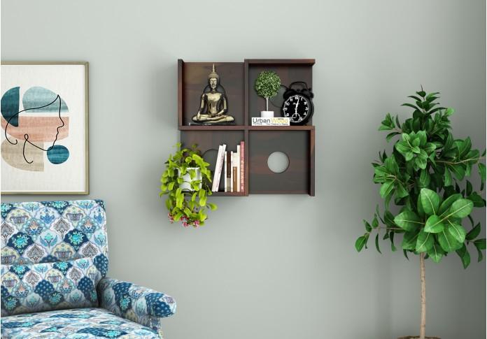 Poppy Wooden Wall Shelves (Walnut Finish)