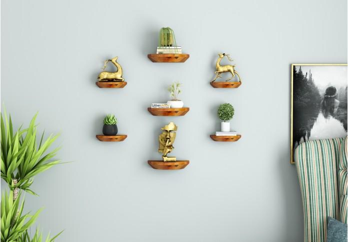 Pori Wooden Wall Shelves (Honey Finish)