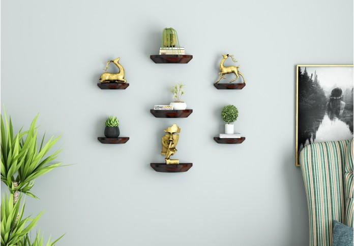 Pori Wooden Wall Shelves (Walnut Finish)