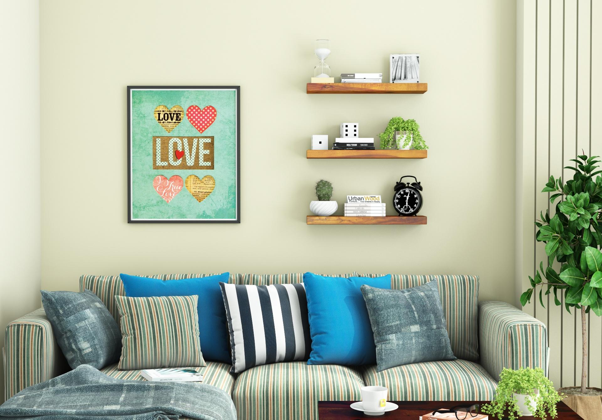 Rico Wooden Wall Shelves <small>(Honey Finish)</small>