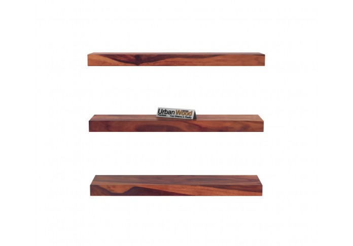Rico Wooden Wall Shelves (Teak Finish)
