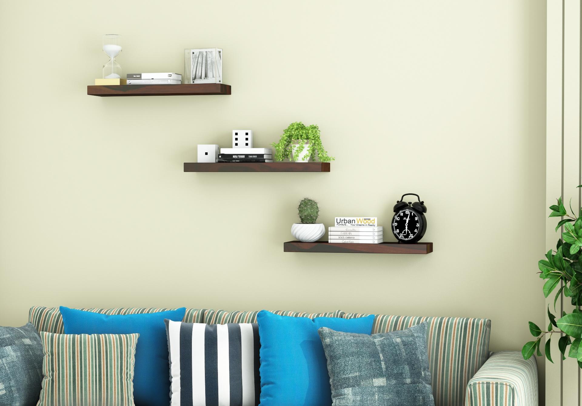 Rico Wooden Wall Shelves <small>(Walnut Finish)</small>