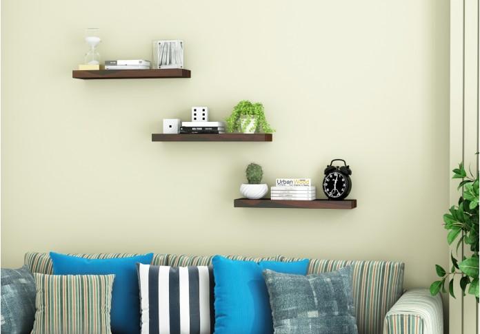 Rico Wooden Wall Shelves (Walnut Finish)
