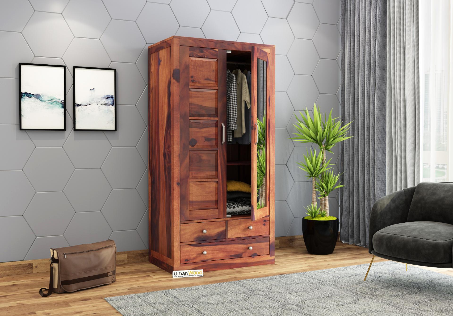 Atrion 2 Door Multi Utility Wardrobe <small>( Teak Finish )</small>