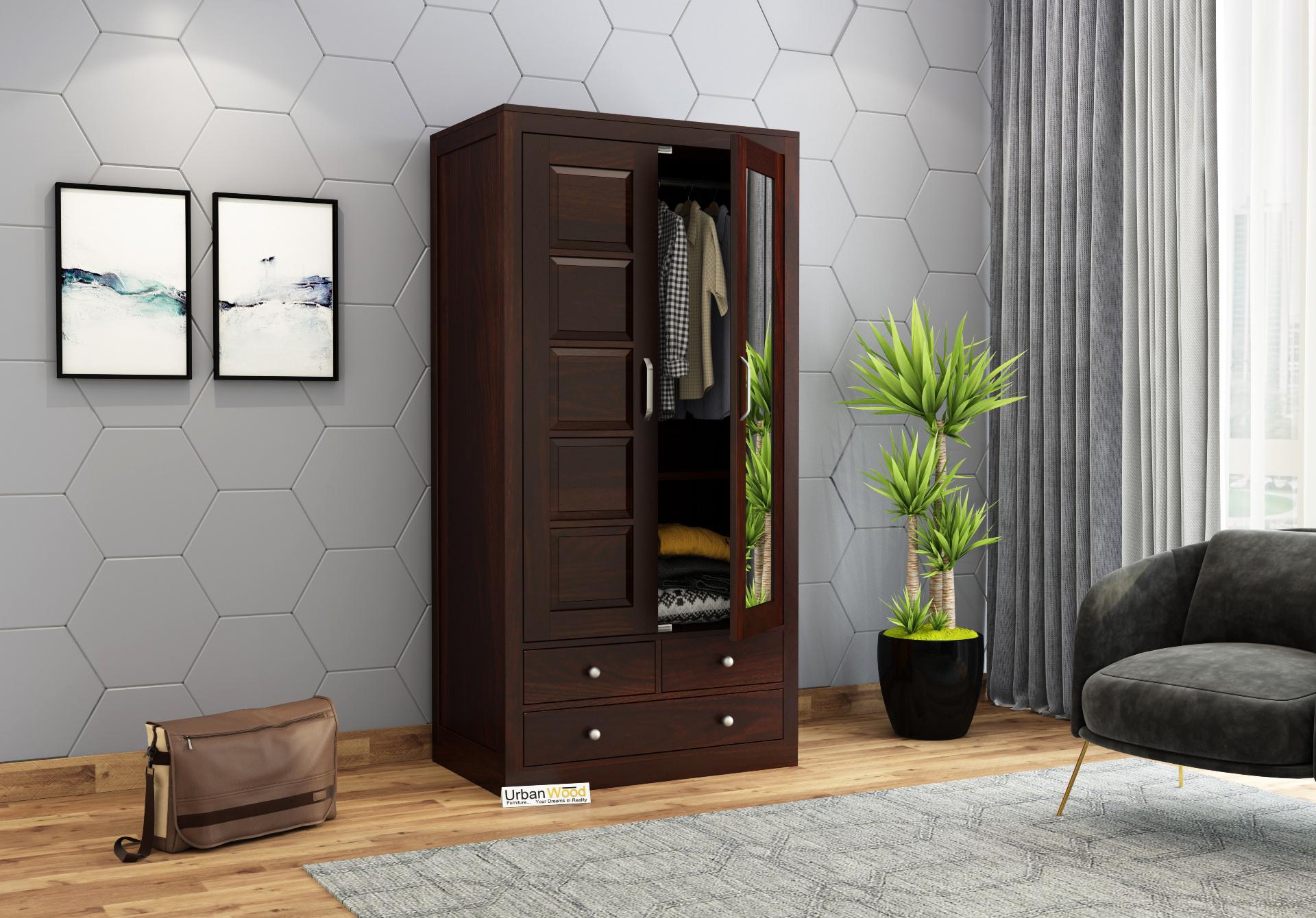 Atrion 2 Door Multi Utility Wardrobe <small>( Walnut Finish )</small>
