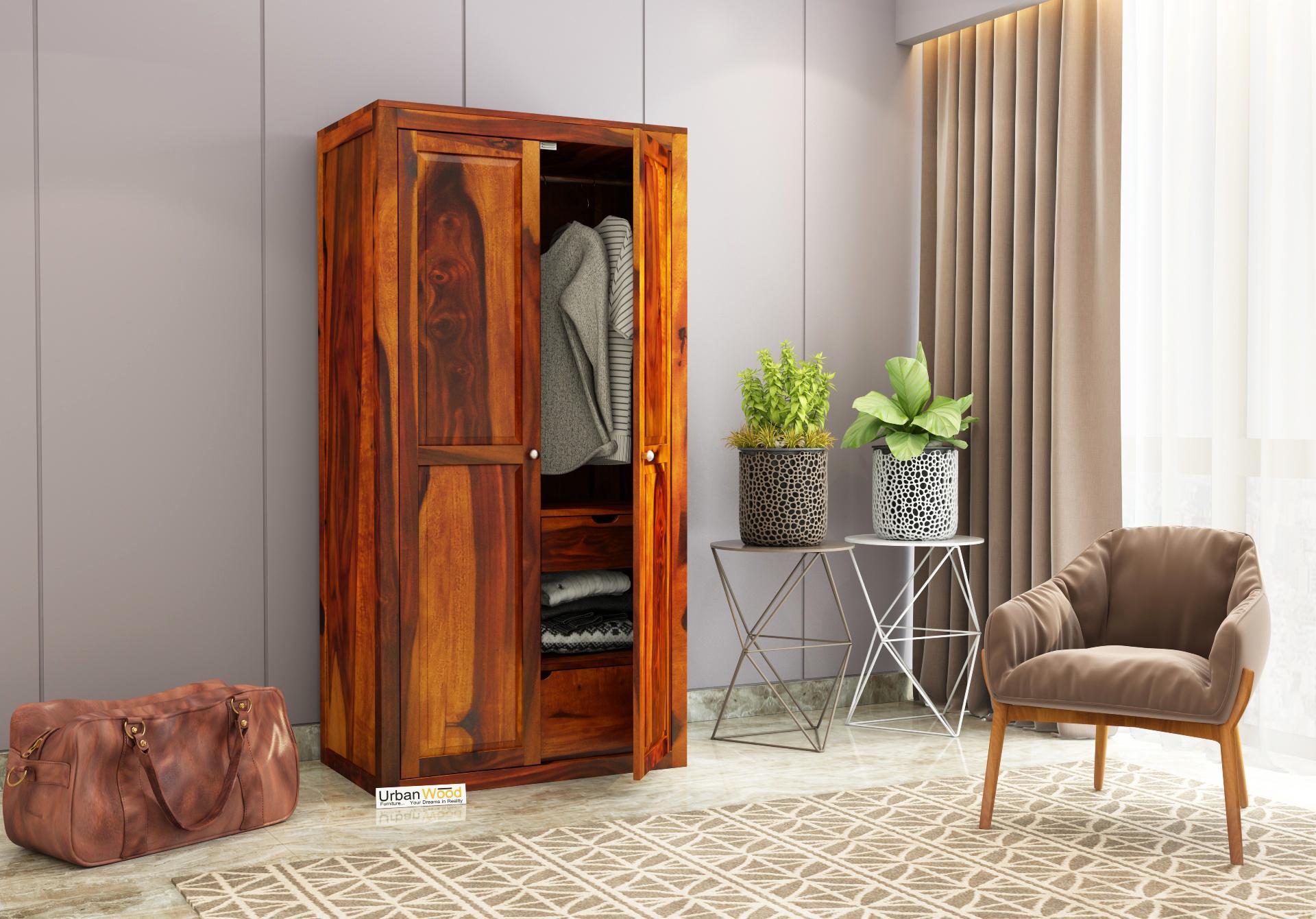 Newon 2 Door Multi Utility Wardrobe <small>( Honey Finish )</small>