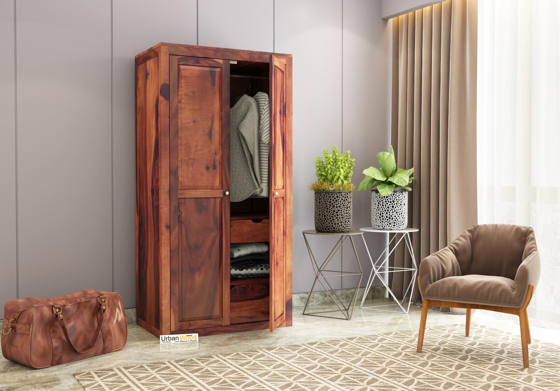 Newon 2 Door Multi Utility Wardrobe <small>(Teak Finish)</small>