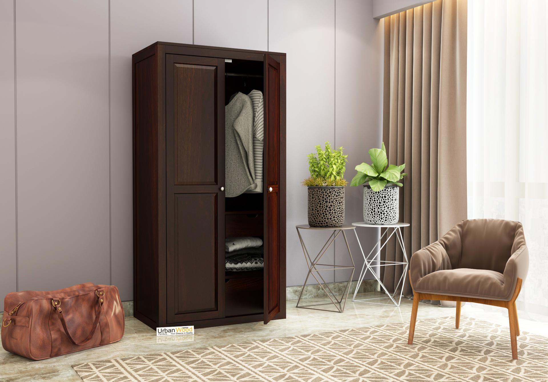 Newon 2 Door Multi Utility Wardrobe <small>(Walnut Finish)</small>