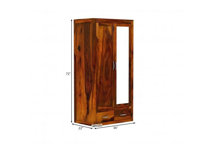 Trimax 2 Door Multi Utility Wardrobe with Mirror (Honey Finish)