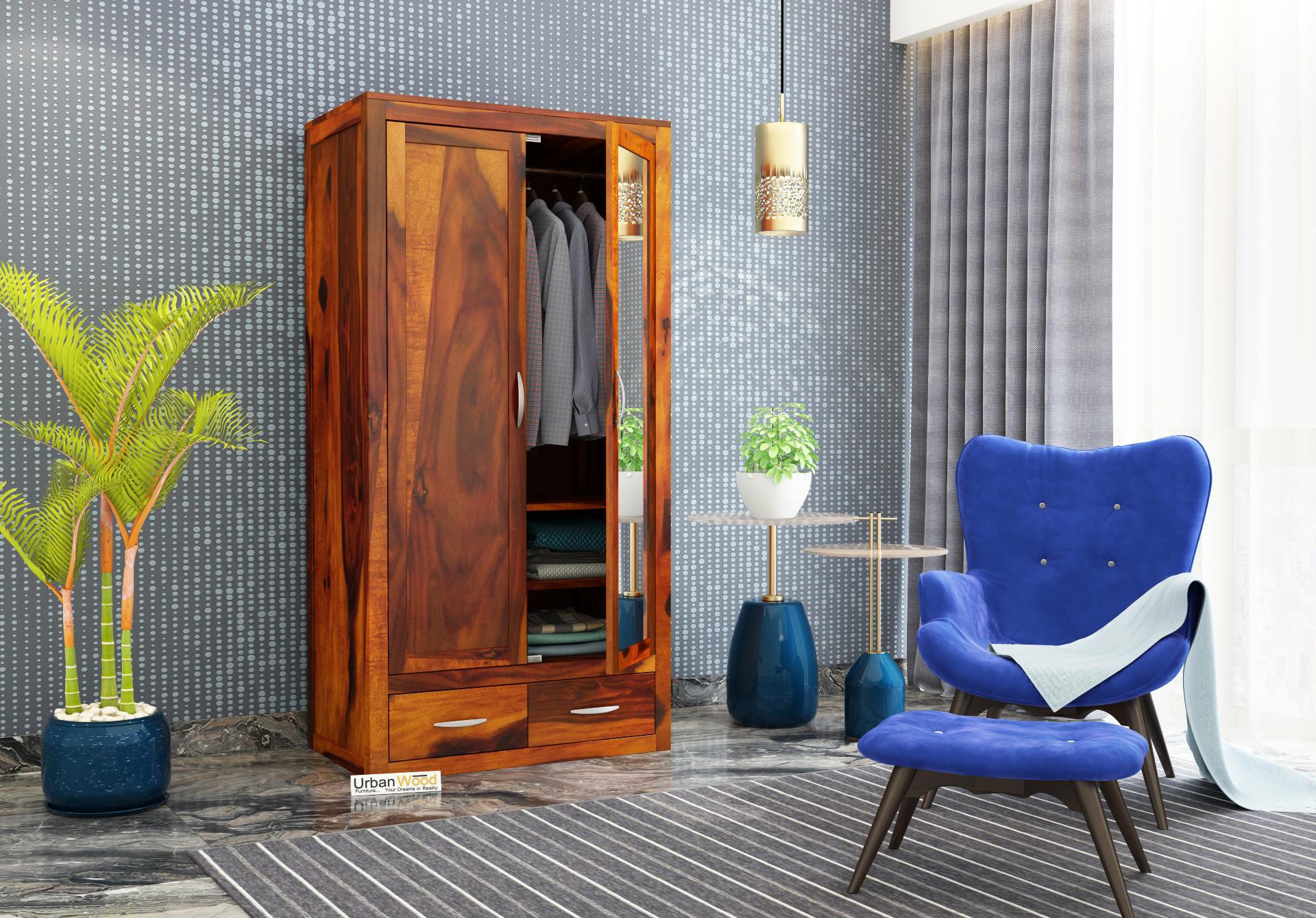 Trimax 2 Door Multi Utility Wardrobe with Mirror <small>(Honey Finish)</small>