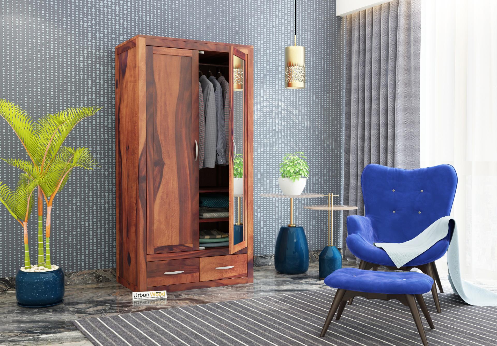 Trimax 2 Door Multi Utility Wardrobe with Mirror <small>( Teak Finish )</small>