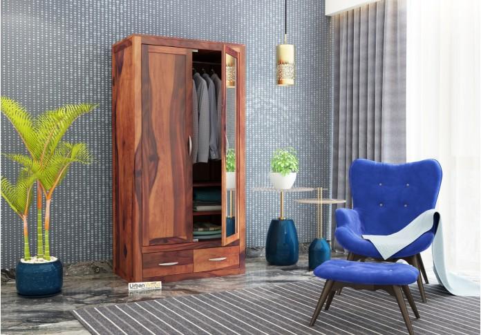 Trimax 2 Door Multi Utility Wardrobe with Mirror ( Teak Finish )