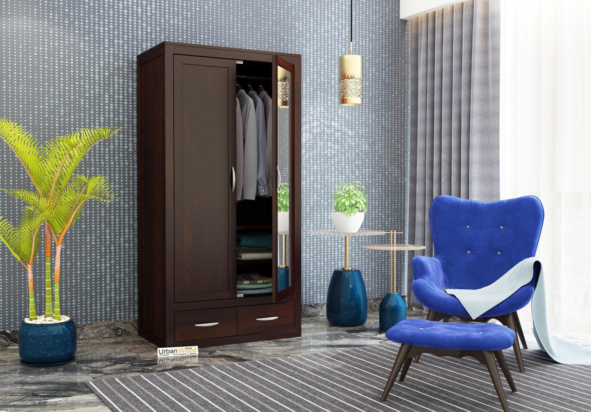 Trimax 2 Door Multi Utility Wardrobe with Mirror <small>( Walnut Finish )</small>