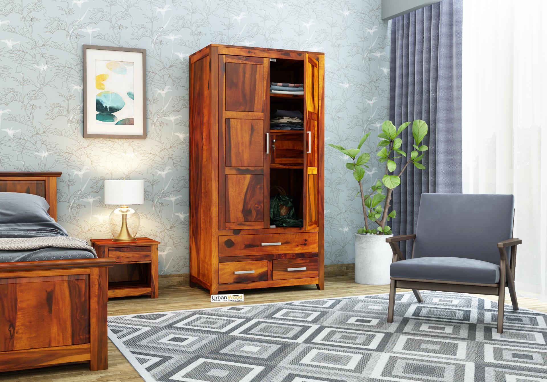 Robin 2 Door Multi Utility Wardrobe <small>(Honey Finish)</small>