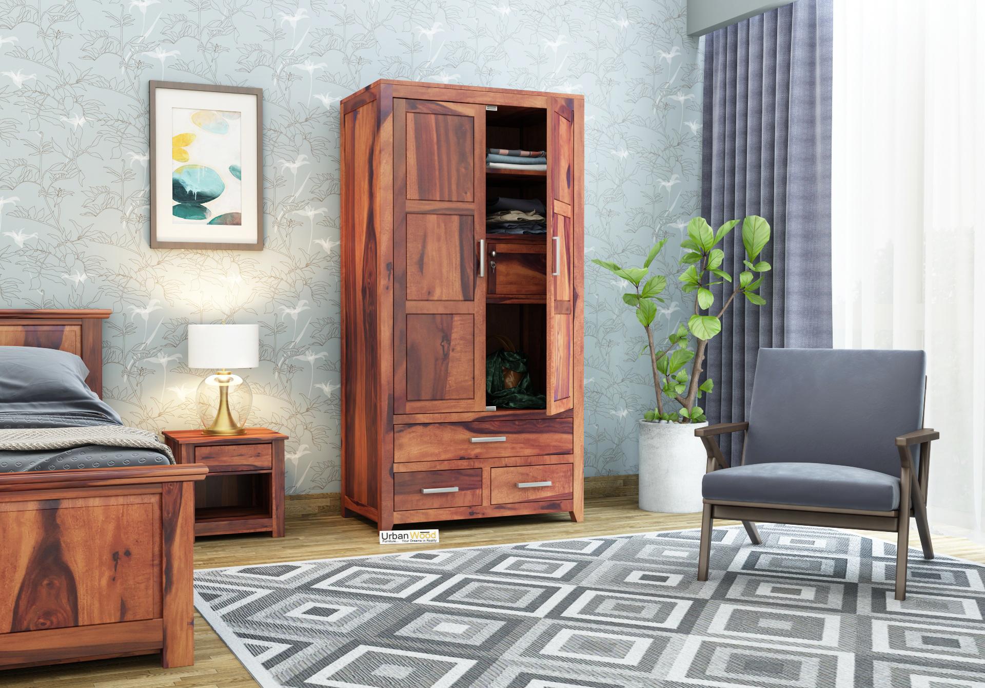 Robin 2 Door Multi Utility Wardrobe <small>( Teak Finish)</small>