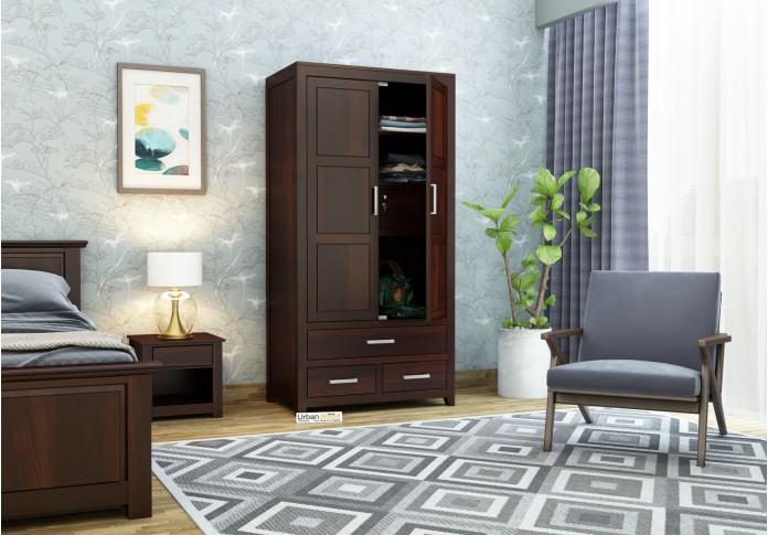 Robin 2 Door Multi Utility Wardrobe <small>( Walnut Finish )</small>