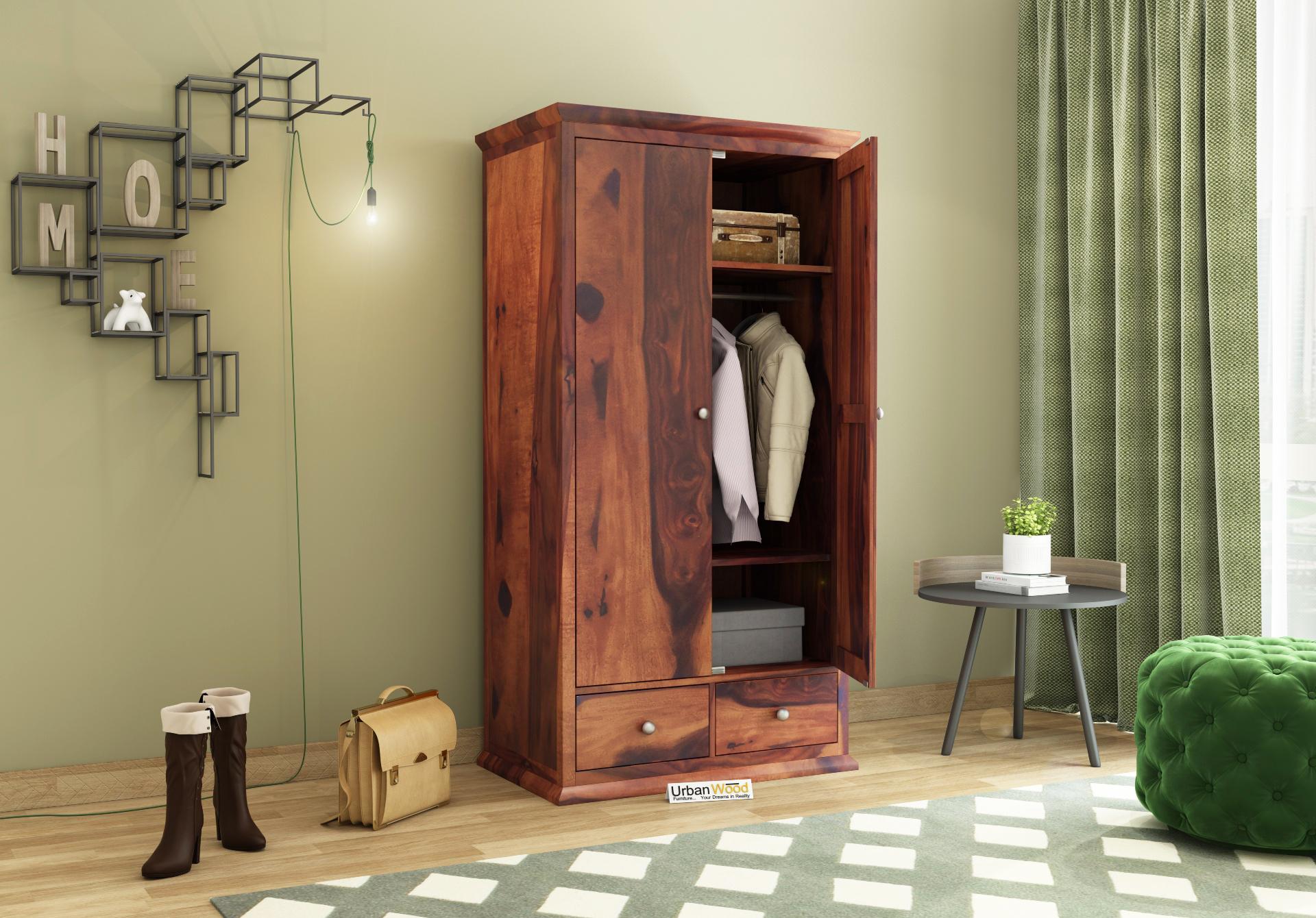 Adam 2 Door Multi Utility Wardrobe <small>( Teak Finish )</small>