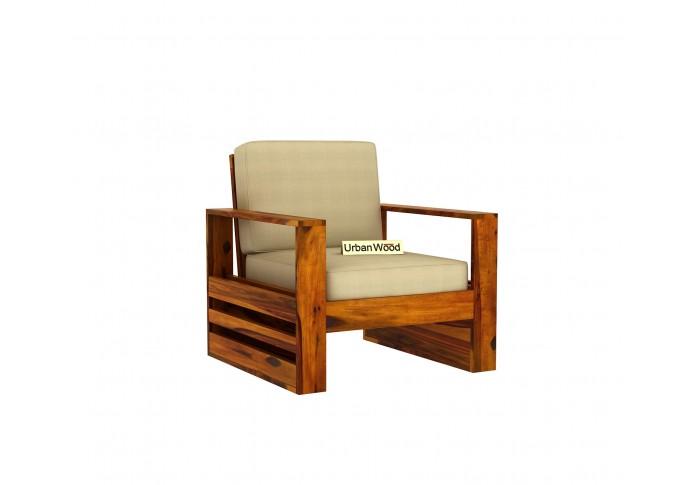 Fitbit Wooden Sofa Set (3+1+1)  Seater ( Honey Finish )