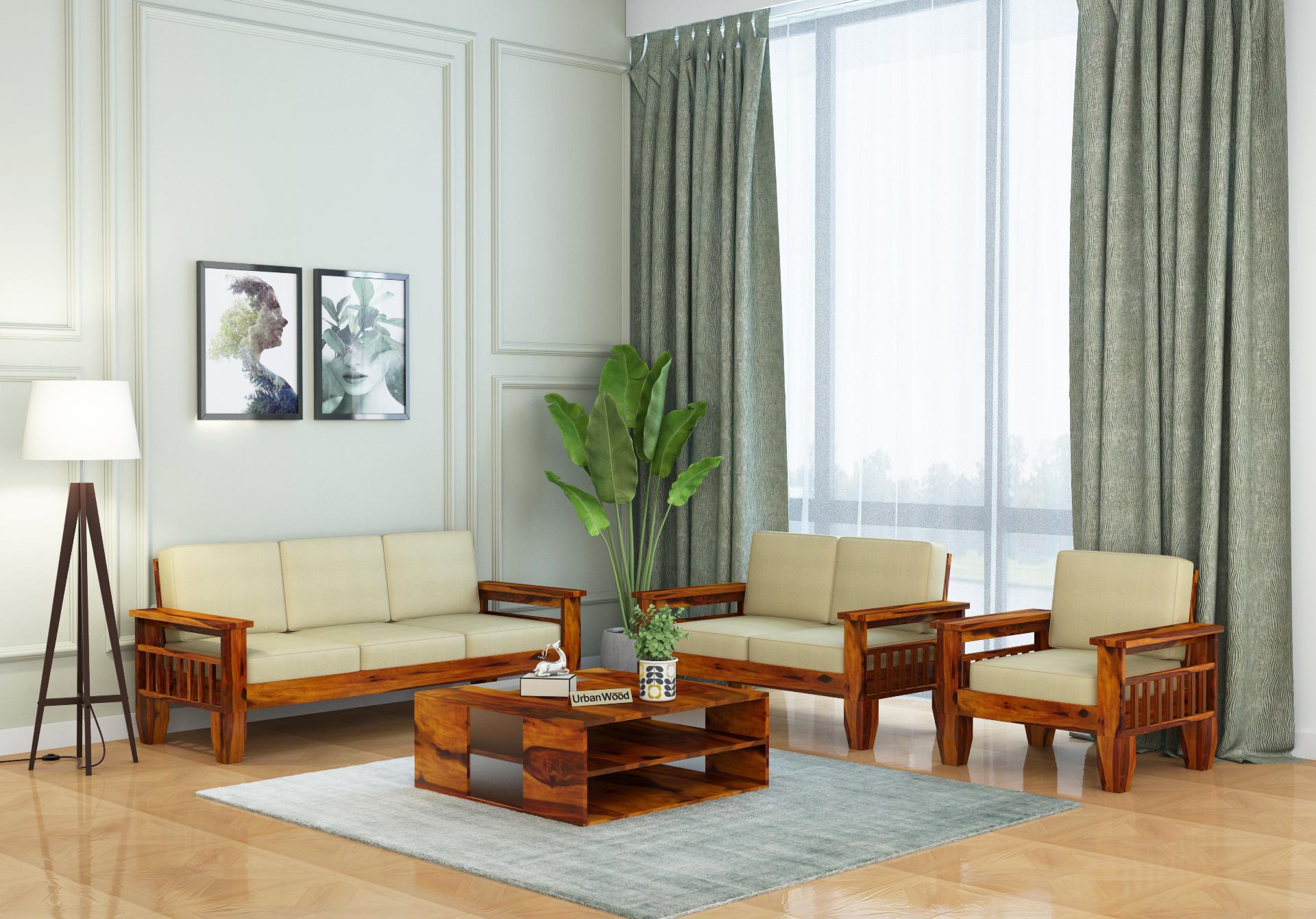 Freshlyn Wooden Sofa Set <small>(3+2+1) Seater ( Honey Finish )</small>