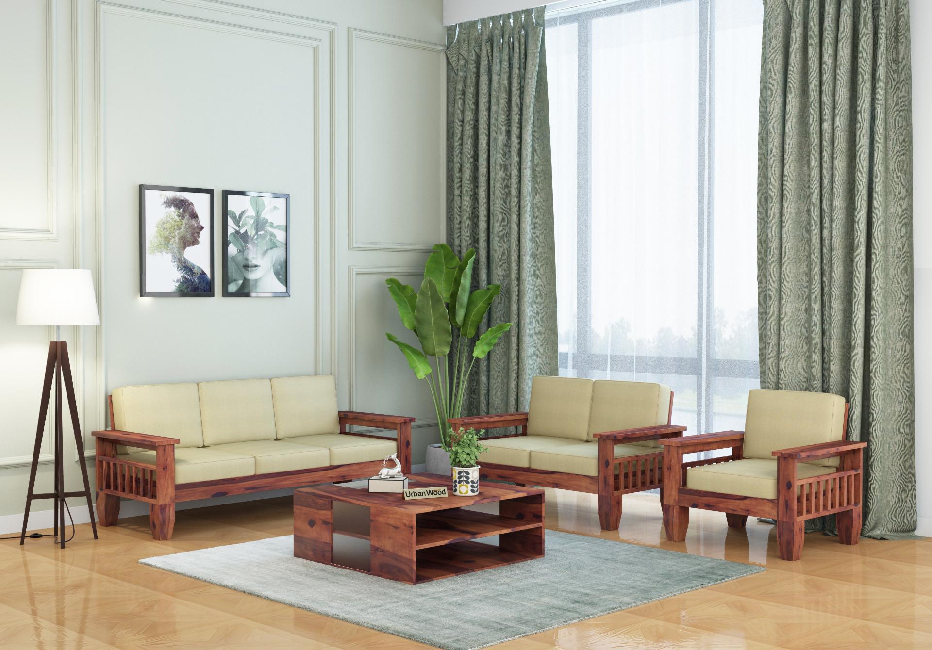 Freshlyn Wooden Sofa Set <small>(3+2+1) Seater ( Teak Finish )</small>