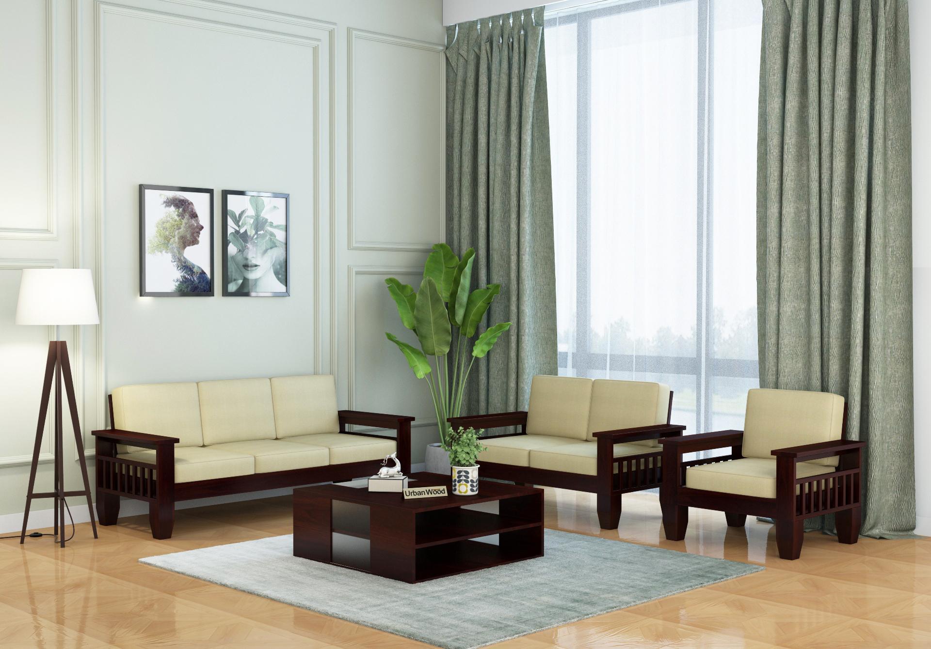 Freshlyn Wooden Sofa Set <small>(3+2+1) Seater ( Walnut Finish )</small>
