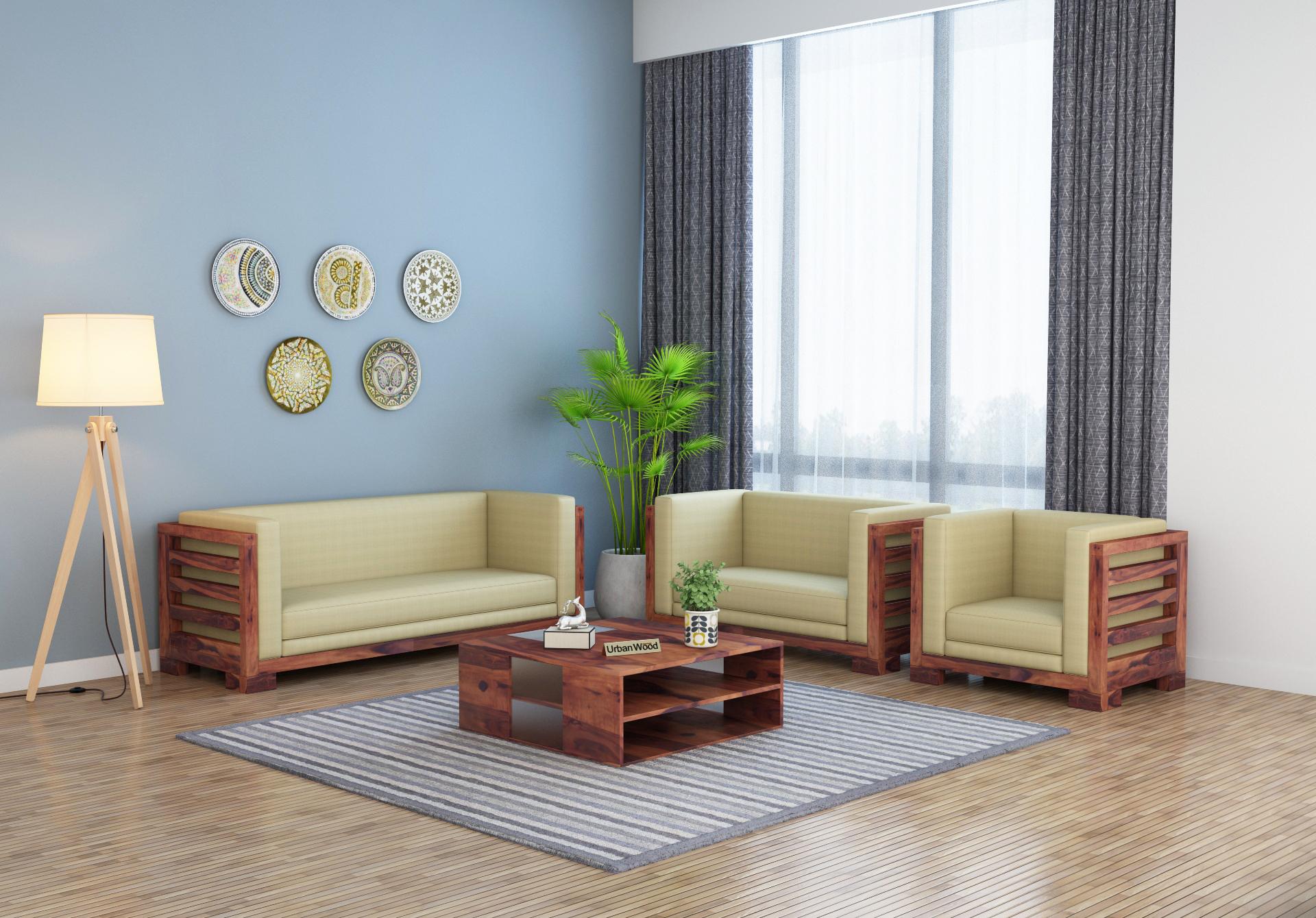 Modway Wooden Sofa Set <small>(3+2+1) ( Teak Finish )</small>