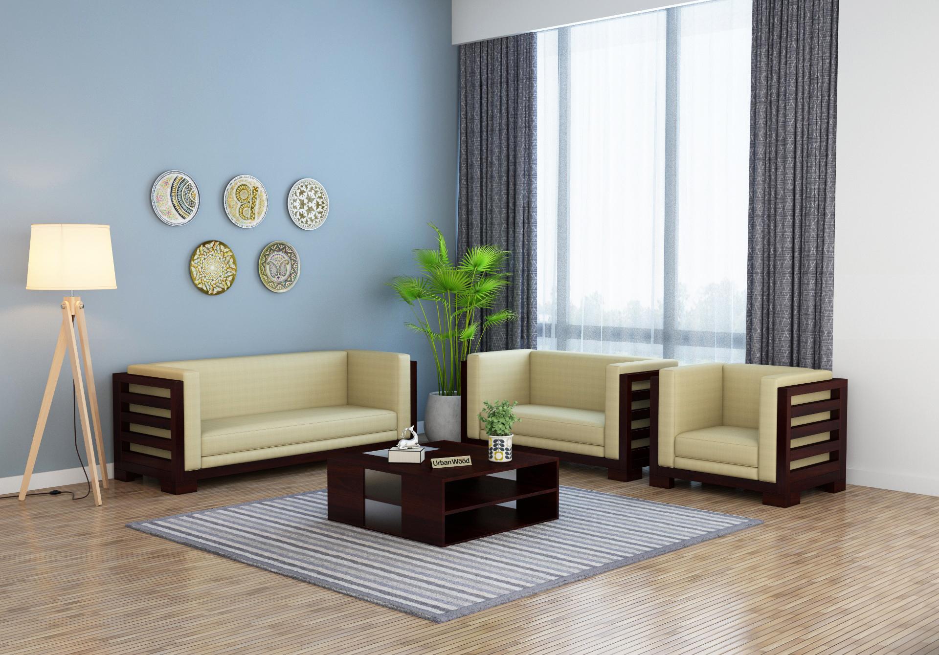 Modway Wooden Sofa Set <small>(3+2+1) Seater ( Walnut Finish )</small>