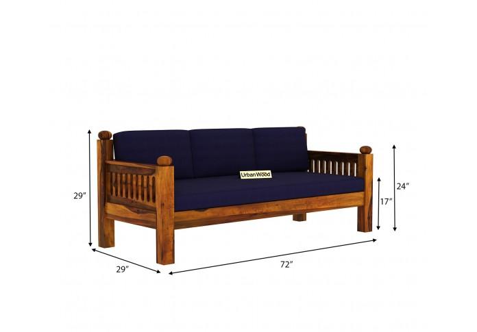Grey Space Wooden Sofa Set 3+1+1 Seater ( Honey Finish, Navy blue )