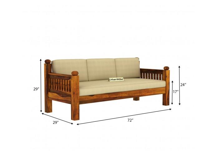 Grey Space Wooden Sofa Set <small>(3+1+1) ( Honey Finish, Sepia cream )</small>