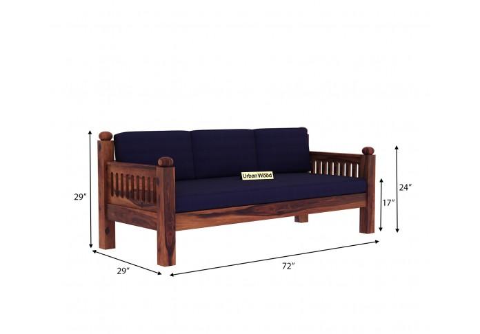 Grey Space Wooden Sofa Set <small>(3+1+1) ( Teak Finish, Navy blue )</small>