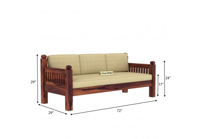 Grey Space Wooden Sofa Set 3+1+1 Seater ( Teak Finish, Sepia cream )