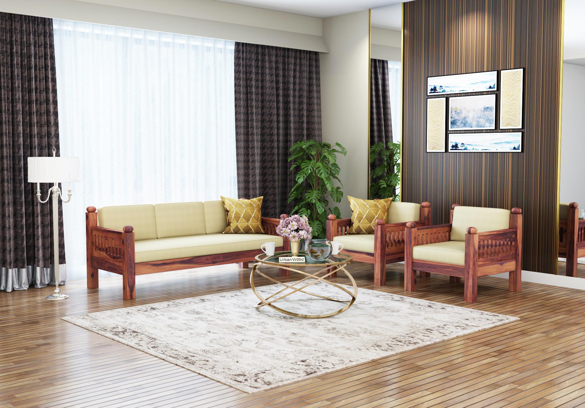 Grey Space Wooden Sofa Set 3+1+1 Seater <small>( Teak Finish, Sepia cream )</small>