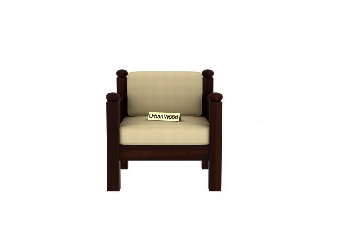 Grey Space Wooden Sofa Set 3+1+1 Seater ( Walnut Finish, Sepia cream )