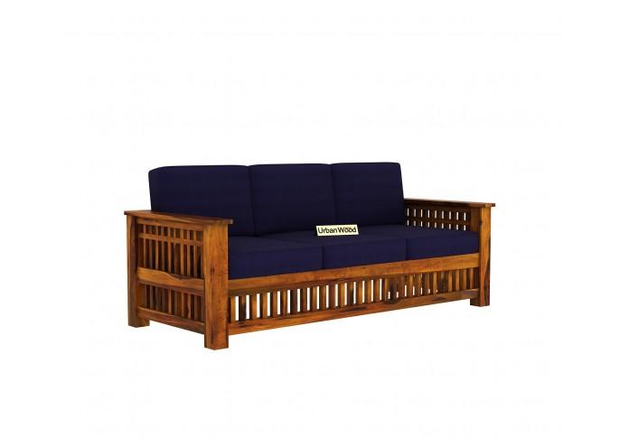 HomeBregg Wooden Sofa Set 3+1+1 Seater ( Honey Finish, Navy Blue )