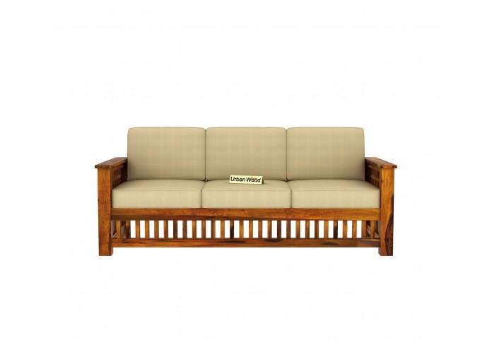 HomeBregg Wooden Sofa Set 3+1+1 Seater ( Honey Finish, Sepia cream )