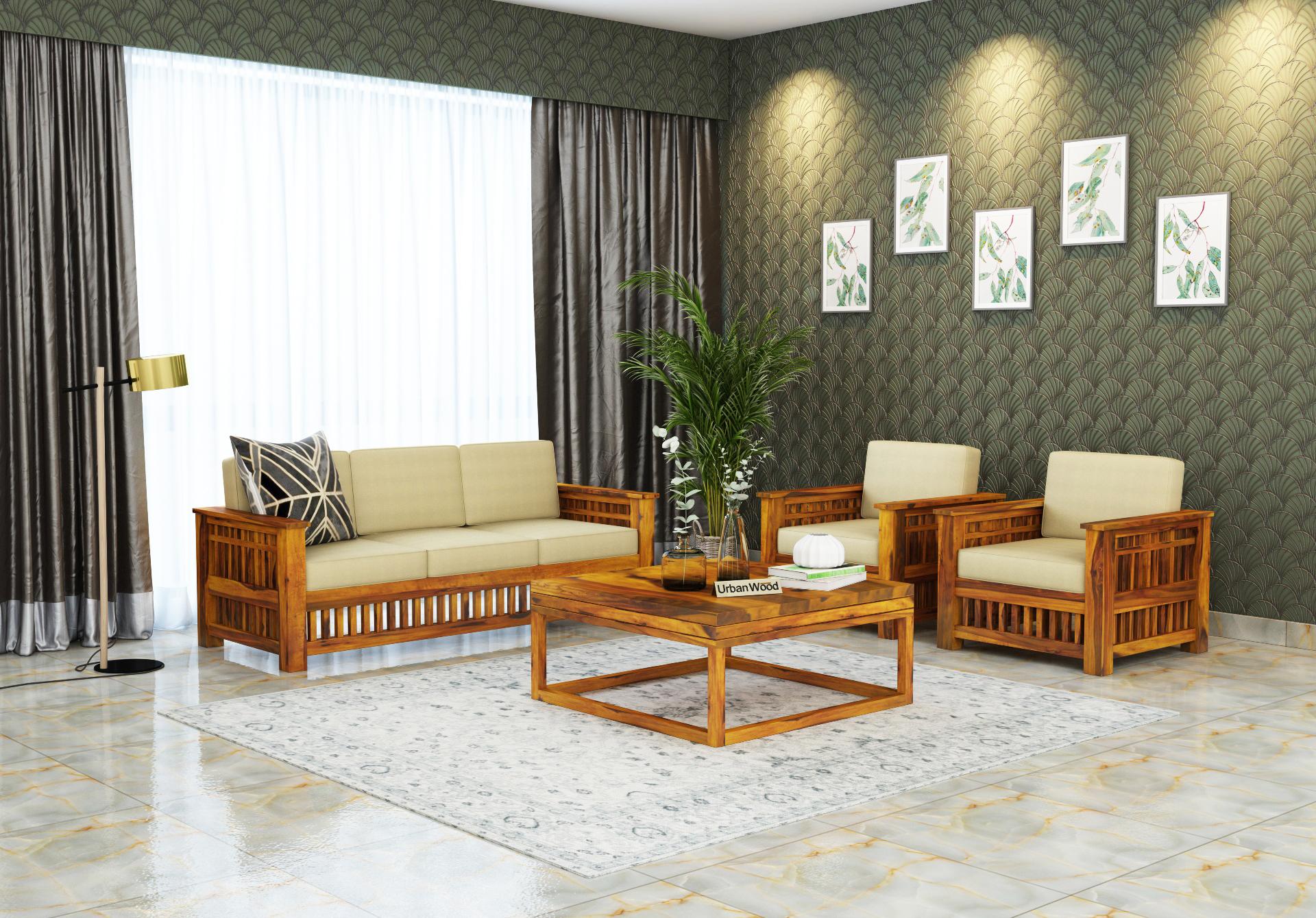 HomeBregg Wooden Sofa Set 3+1+1 Seater <small>( Honey Finish, Sepia cream )</small>