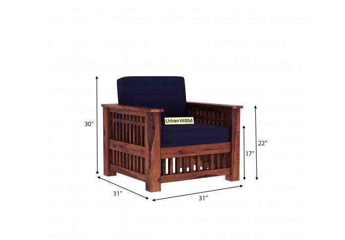 HomeBregg Wooden Sofa Set 3+1+1 Seater ( Teak Finish, Navy Blue )