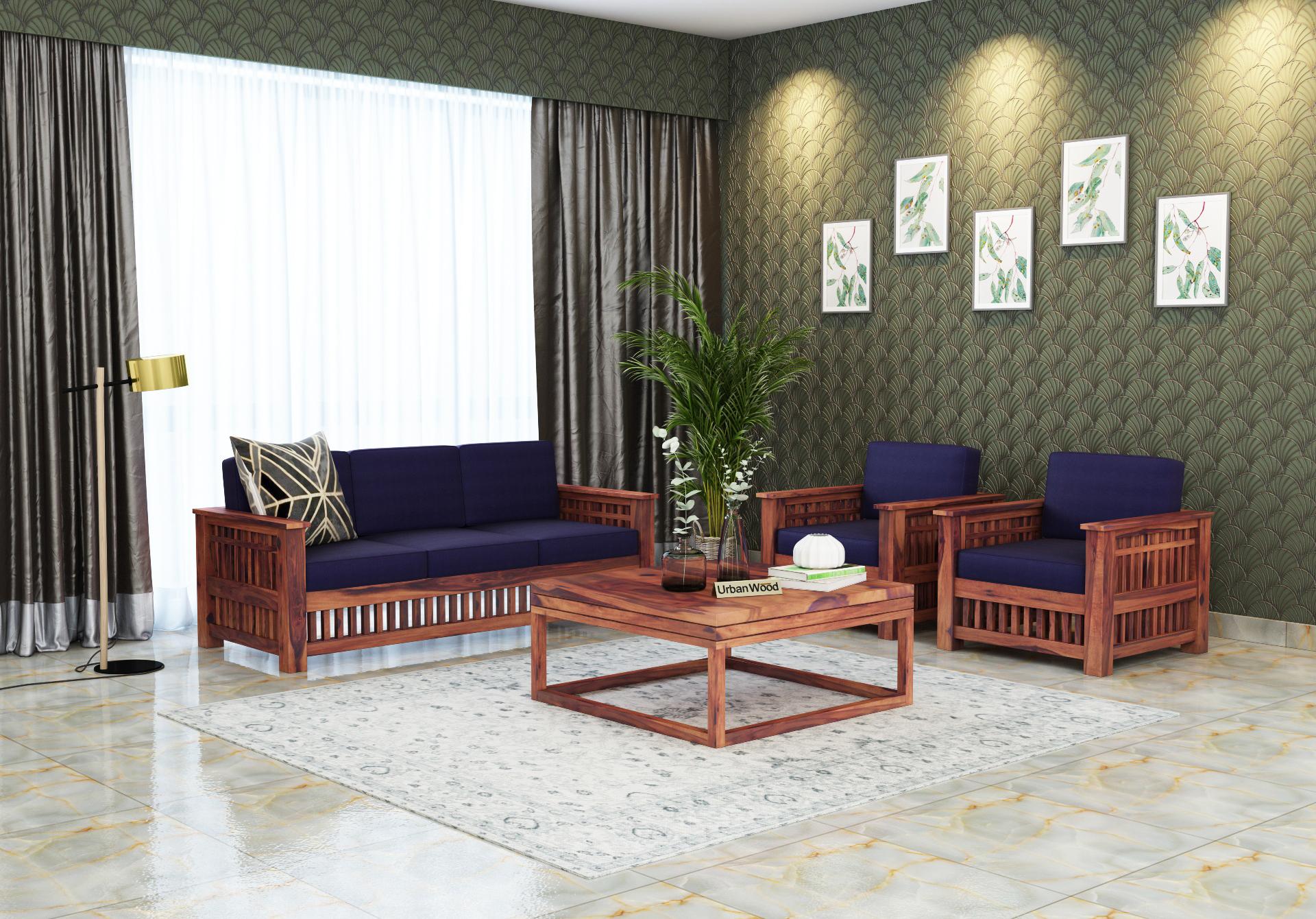 HomeBregg Wooden Sofa Set 3+1+1 Seater <small>( Teak Finish, Navy Blue )</small>