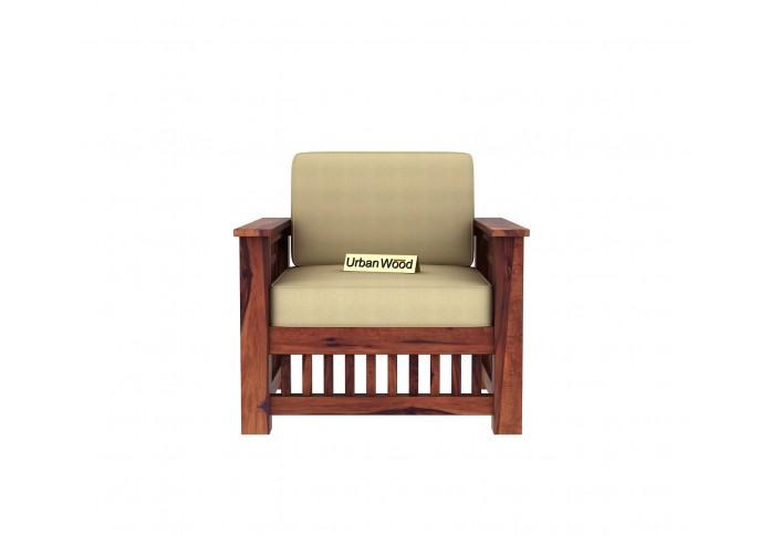 HomeBregg Wooden Sofa Set <small>(3+1+1) ( Teak Finish, Sepia cream )</small>