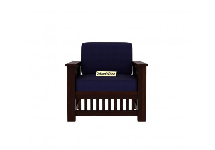 HomeBregg Wooden Sofa Set <small>(3+1+1) ( Walnut Finish, Navy Blue )</small>