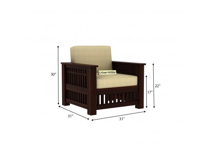 HomeBregg Wooden Sofa Set <small>(3+1+1) ( Walnut Finish, Sepia cream )</small>